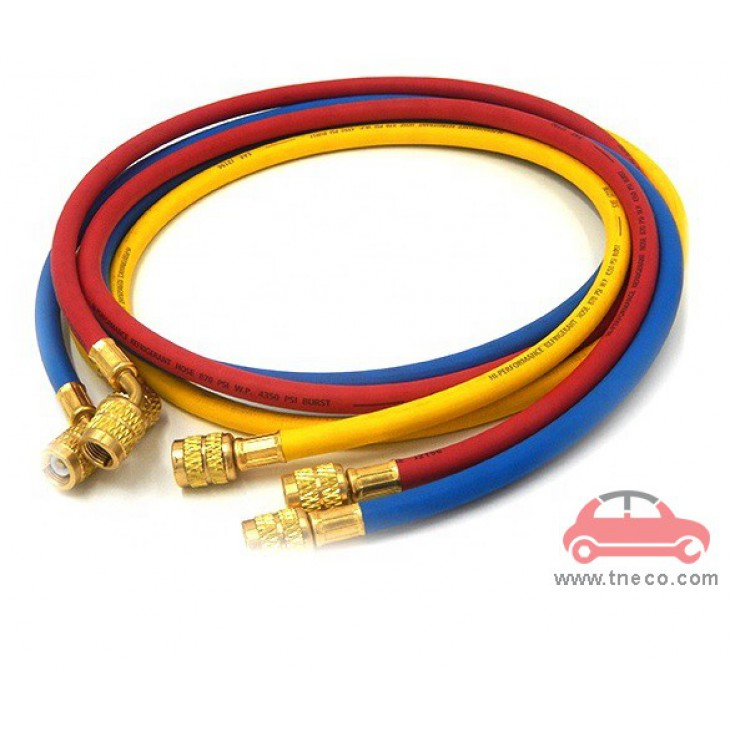 Bộ ống dây sạc ga nạp ga máy lạnh điều hòa ga R134a P&M Đài Loan 360RYB-L (đầu gá 1/2'')