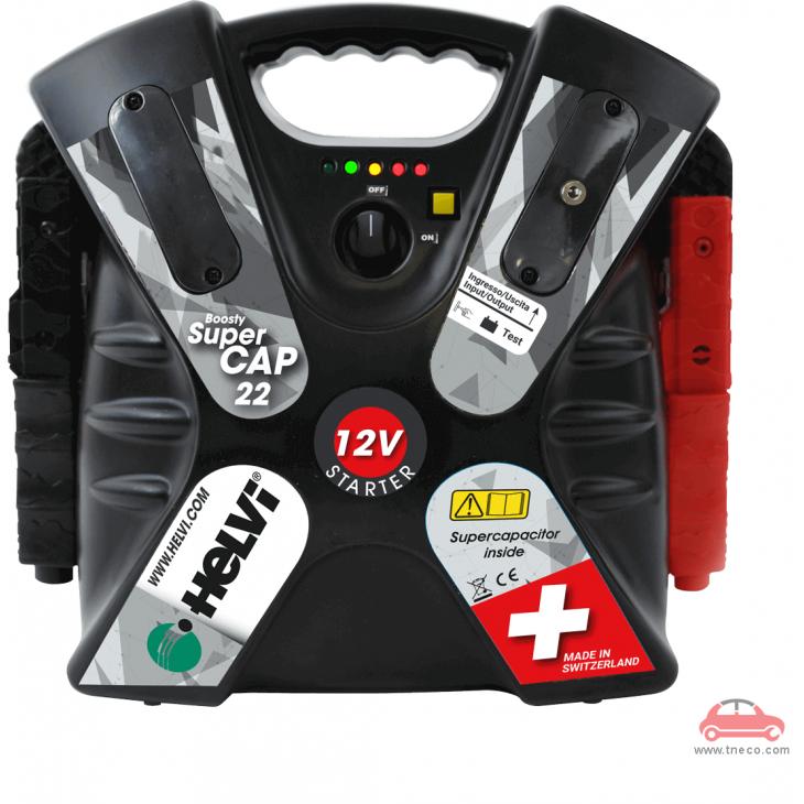 Thiết bị cứu pan và khởi động động cơ xe ô tô cầm tay xách tay Italy Ý Helvi BOOSTY SUPERCAP 22 (không sử dụng bình điện bên trong máy)