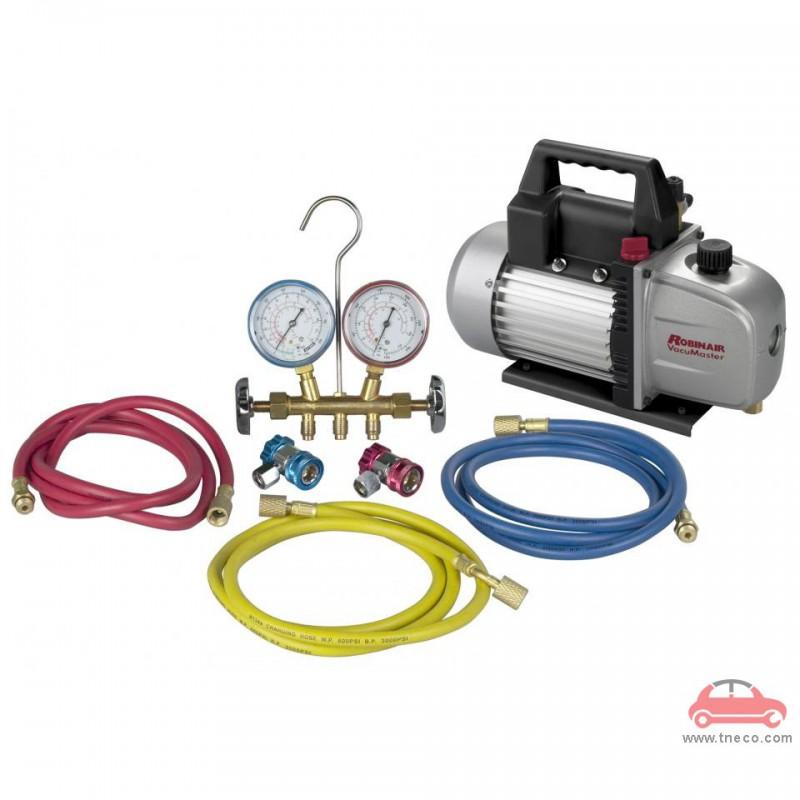 Bộ combo máy bơm hút chân không và đồng hồ sạc ga lạnh R134A cho ô tô Robinair ROB-48134A-VACKIT